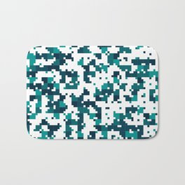 Take me to the bottom of the ocean - Random Pixel Pattern in shades of blue green Bath Mat