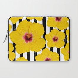 Summer Hibiscus Fun on Black & White Stripes Laptop Sleeve