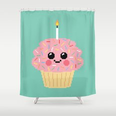 Happy Pixel Cupcake Shower Curtain