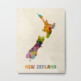 New Zealand, Watercolor Map Metal Print