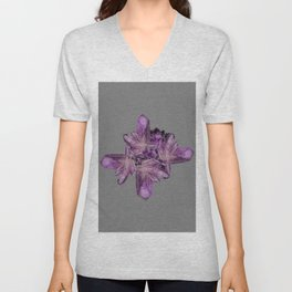 LIGHT PURPLE AMETHYST GEMSTONE CRYSTALS GREY ART Unisex V-Neck