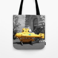 yellow submarine Tote Bags featuring yellow submarine  by 33bc