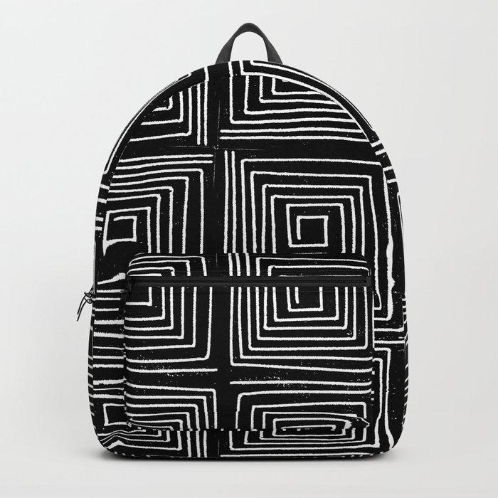 Minimal linocut printmaking geometric square maze pattern scandinavian minimalist Backpack