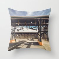 pocket fuel Throw Pillows featuring Fuel Station by Dave Rasura