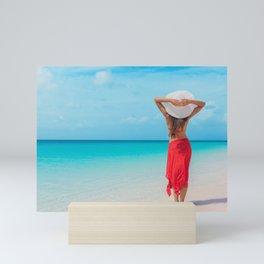 Beach Caribbean vacation travel woman Mini Art Print