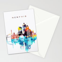 Colorful Watercolor Memphis Skyline Stationery Cards