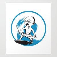 Gandhi surfing Art Print
