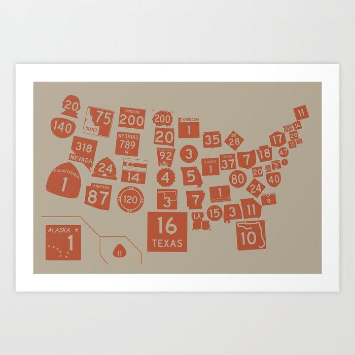 United State Highways of America - Rust Art Print