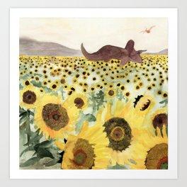 Cretaceous Period Sunflower Field Art Print