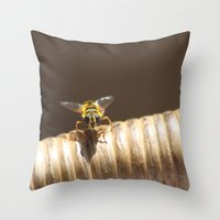 bee Throw Pillows featuring BEE by Avigur