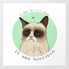 Grumpy cat love Art Print