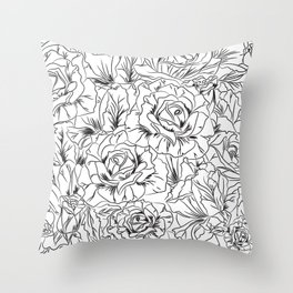 Sketchy Floral Throw Pillow