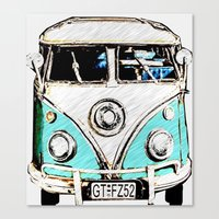volkswagon Canvas Prints featuring CarPool by Adrienne