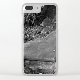 broken old grave on the green Clear iPhone Case