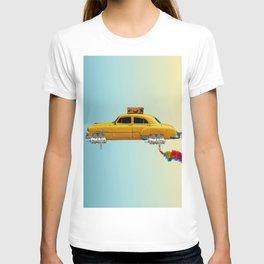 Yellow sci-fi car T-shirt