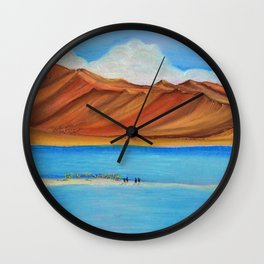 Pangong lake in pastel colours, Landscape painting. Wall Clock