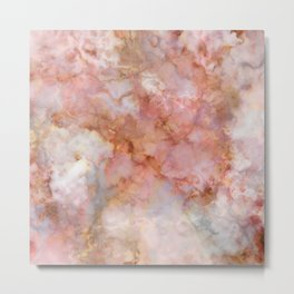 Beautiful & Dreamy Rose Gold Marble Metal Print