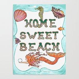 Mermaid Art, Home Sweet Beach, Sea Art, Sea Horse, Shells, Ocean, Fantasy Poster