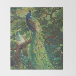 Peacock Chinoiserie Throw Blanket