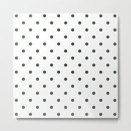 Polka Dots Pattern: Pine Green Metal Print