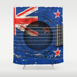Old Vintage Acoustic Guitar with New Zealand Flag Shower Curtain