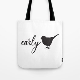 Farmhouse Style Hand Lettered Early Bird Tote Bag