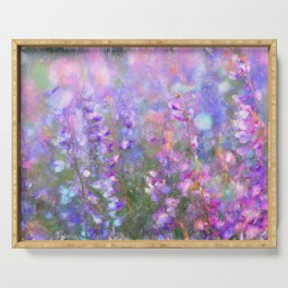 Field of Tall Purple Flowers Impressionist Painting Serving Tray