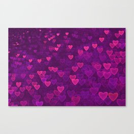 Abstract Pink Ultra Violet Love Heart Pattern   St Valentines day Canvas Print