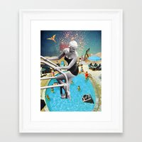 hippy Framed Art Prints featuring Happy Hippy Hippo by Eugenia Loli