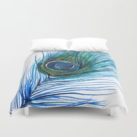 peacock feather Duvet Covers featuring Peacock Feather by Marissa