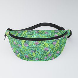 Pink Clover Flowers on Green Field, Floral Pattern Fanny Pack