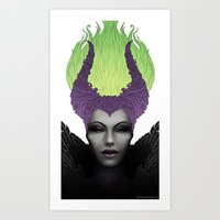 maleficent Art Prints featuring Maleficent by clayscence