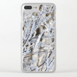 covered with hoarfrost tree Clear iPhone Case