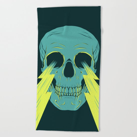 Lightning Skull Beach Towel