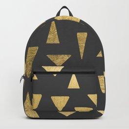Elegant faux gold foil gray geometric triangles Backpack