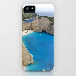 Navagio Beach with Shipwreckon Zakynthos Island, Greece iPhone Case