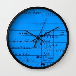 Library Card 23322 Blue Wall Clock
