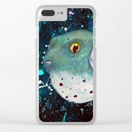 Friendly Green Fugu Redux Clear iPhone Case
