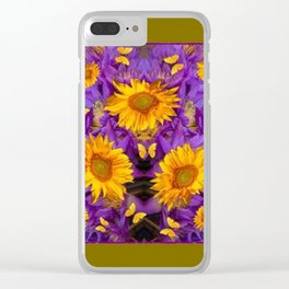 YELLOW BUTTERFLY SWARM LILAC-KHAKI COLOR Clear iPhone Case