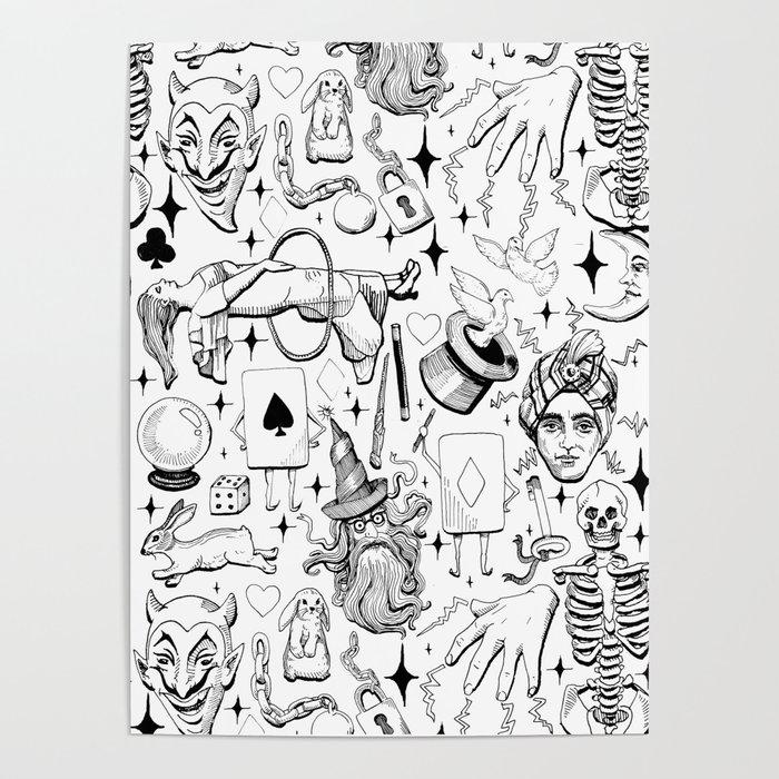 Antique Magic Starter Pack Black and White Poster