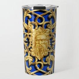 Elegant Antique Gold Botanical Pattern Travel Mug