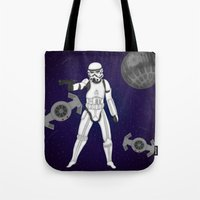 storm trooper Tote Bags featuring storm trooper by Agentsassy