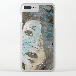 Lack Of Interest: (graffiti dark lady with daisies) Clear iPhone Case