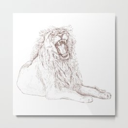 Back Off, Please in Rose Gold | Lion Drawing Metal Print