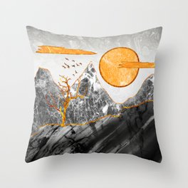 Marble mountains and the fire tree Throw Pillow