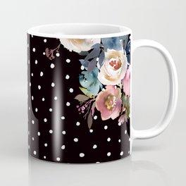 Boho Flowers and Polka Dots on Black Coffee Mug