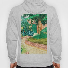 The House With The Green Door, Nature Architecture Painting, Places Stay At Home Tropical Villa Hoody