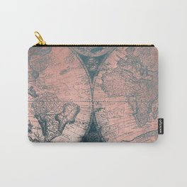 Vintage World Map Rose Gold and Storm Gray Navy Carry-All Pouch
