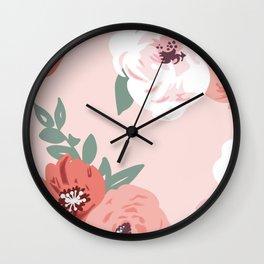 Pink Rosas Wall Clock