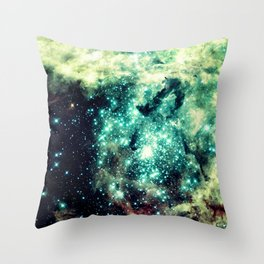 Galaxy Nebula Teal Throw Pillow